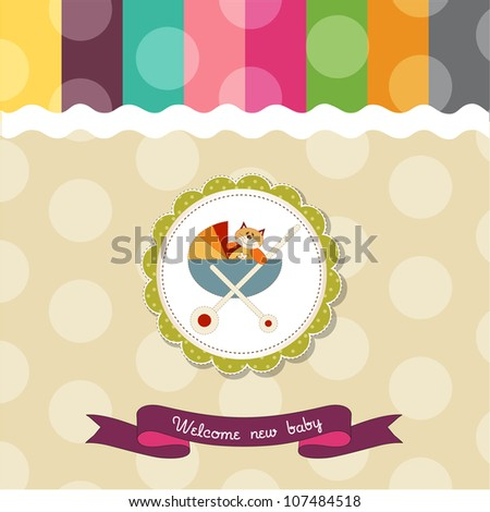 funny baby shower card with pram and cat toy - stock vector