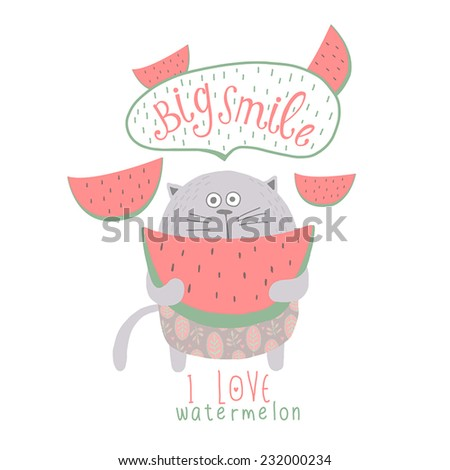 Funny background with cute cat and watermelon. Big Smile. - stock vector