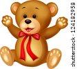 Funny Bear cartoon - stock photo
