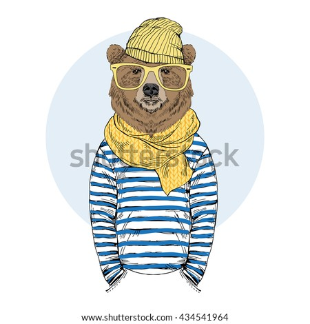 funny bear dressed up in frock, furry art illustration, fashion animals