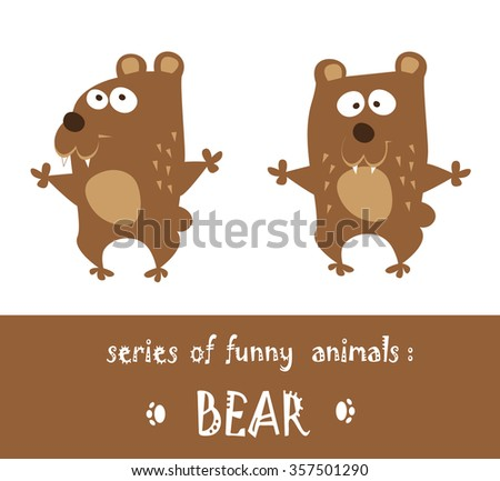 Funny bear hand drawn in cartoon style isolated on white background. Vector illustration