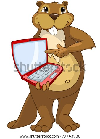 Funny Beaver Isolated on White Background - stock vector