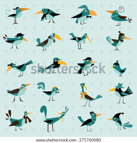 funny bird on a blue background - stock vector