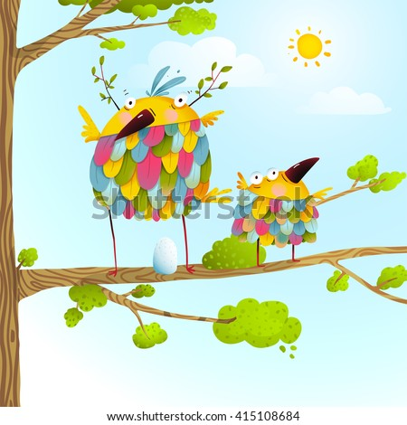 Funny bird on tree family mother and nestling egg kid in nature. Colorful bird family mother and child greeting card. Bird parent funny love child wild nature design. Vector illustration.
