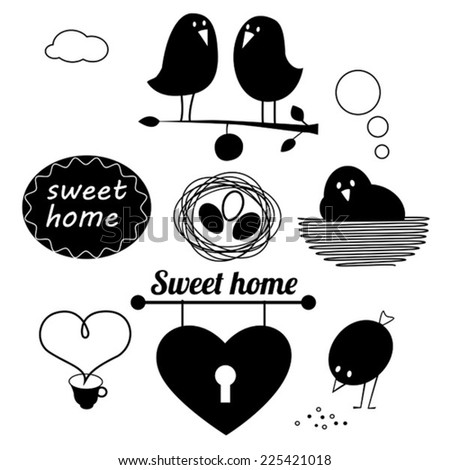 Funny birds black vinyl stickers