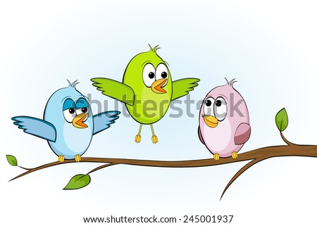 Funny birds on a branch