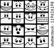 Funny black and white emotions seamless pattern. - stock vector