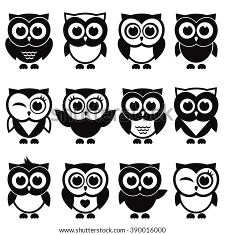 Funny black and white owls and owlets - stock vector