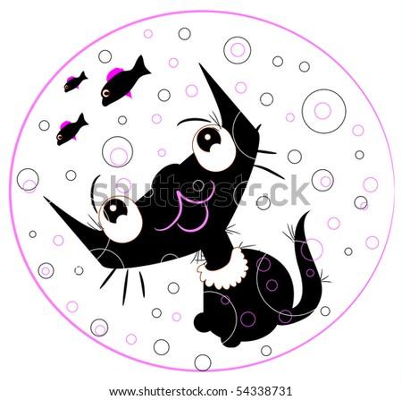 funny black cat silhouette - stock vector