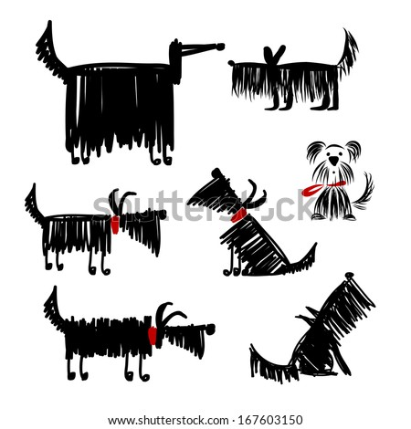 Funny black dogs collection for your design - stock vector