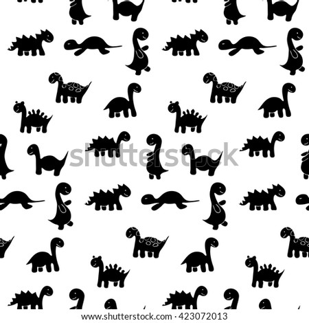 Funny black  vector seamless dinosaur pattern on white background.