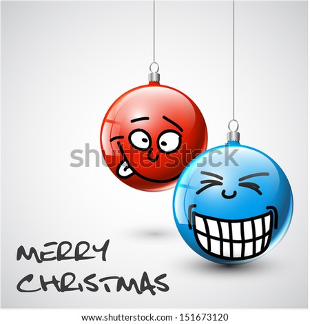 Funny blue and red Vector Christmas baubles with faces - stock vector