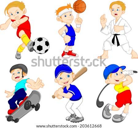 Funny boy cartoon character doing sport  - stock vector