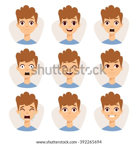 Funny boy emotions and cute boy portrait emotions avatars. Illustration featuring boy kids showing different facial expressions emotions cartoon vector.  - stock vector
