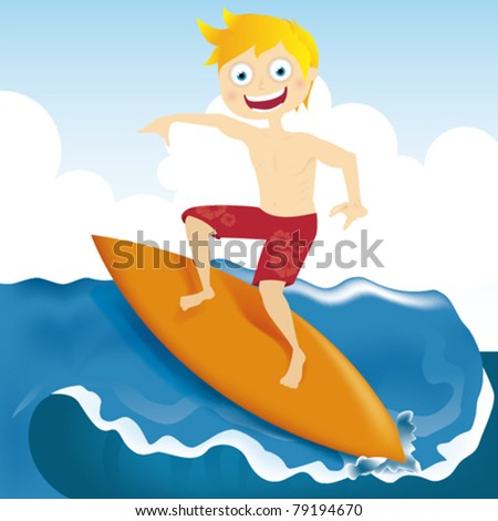 Funny boy surfing a wave - stock vector