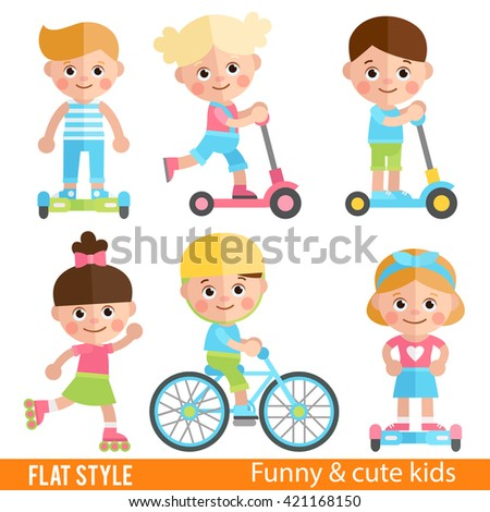 Funny boys and girls riding on scooters, roller skates and bike. Cute children sports ride. Set of characters in  flat style. Boy's on scooter. Boys on a skateboard. - stock vector