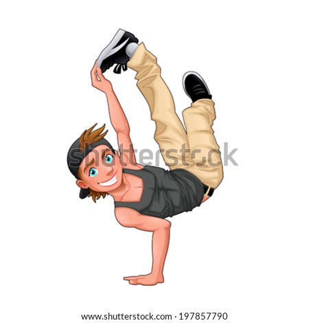 Funny breakdancer. Vector isolated character. - stock vector