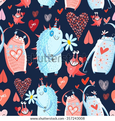 funny bright seamless vector pattern with lovers monsters - stock vector