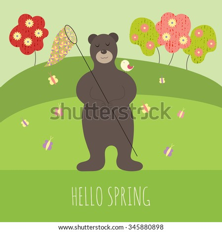 Funny brown bear in spring holding butterfly net. Can be used for cards, books, printing, web design - stock vector