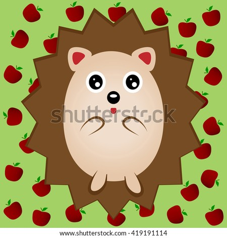 Funny brown hedgehog with big eyes. Urchin, porcupine. Green background with red apples. - stock vector