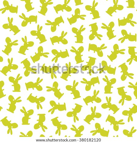 funny bunny Easter pattern. Vector seamless doodle easter pattern with Easter bunnies - stock vector