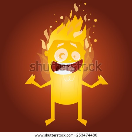 funny burning man character - stock vector