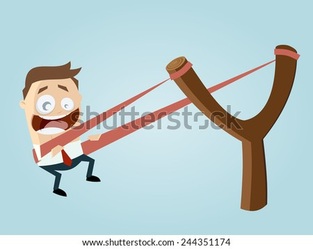 funny businessman in slingshot - stock vector