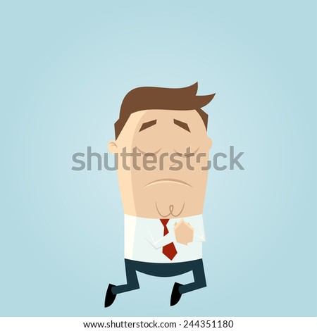 funny businessman is praying - stock vector