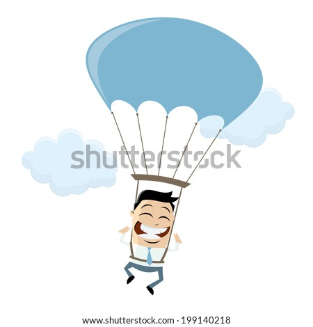 funny businessman with parachute - stock vector