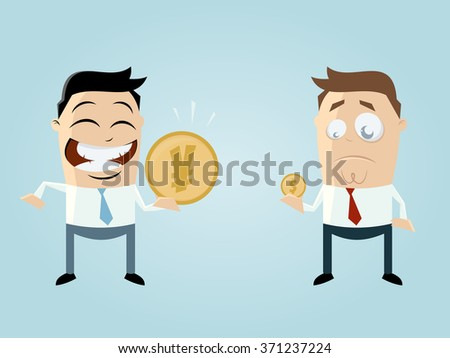 funny businessmen comparing their income - stock vector