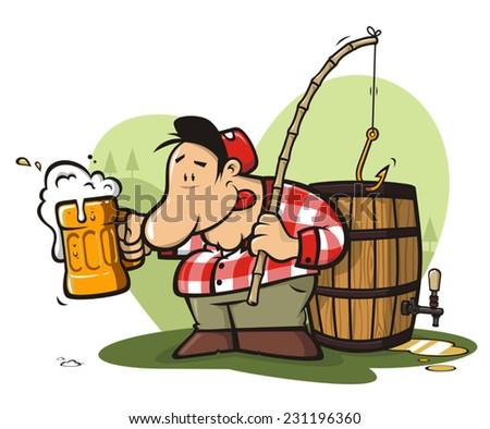 Funny camper fishing a beer barrel - stock vector