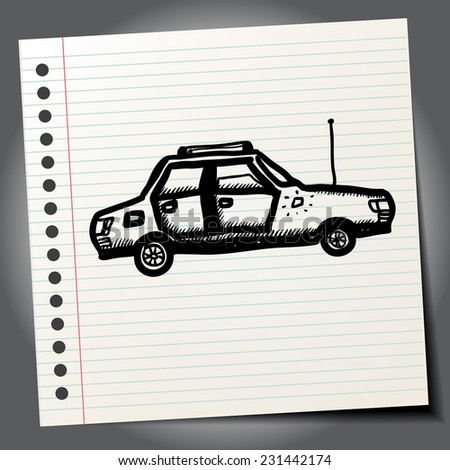 Funny car doodle - stock vector