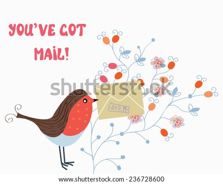 Funny card with bird and mail on flower pattern - stock vector