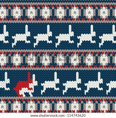 Funny card with two rabbits in love / Norwegian knitted pattern - stock vector