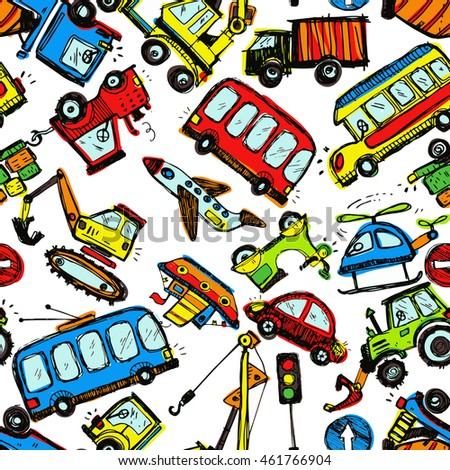 Funny Cars. kids seamless pattern texture. Hand drawn doodle illustration. Colorful child background.