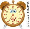 Funny cartoon alarm clock- vector illustration. - stock vector