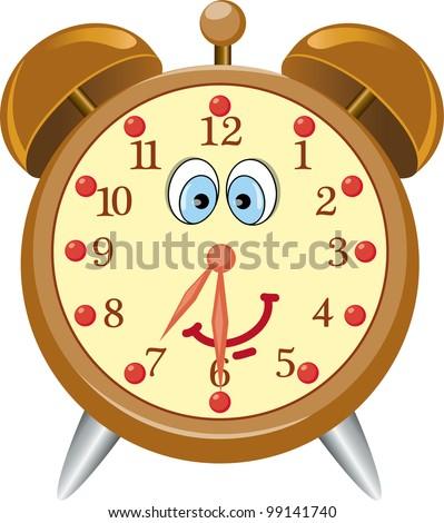 Funny cartoon alarm clock- vector illustration. - stock vector