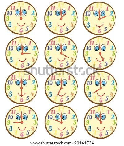 Funny cartoon alarm clocks showing time - vector illustration. - stock vector