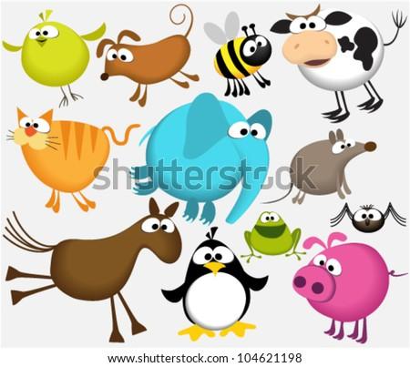 Funny cartoon animals - stock vector