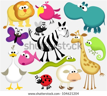 Funny cartoon animals - stock vector