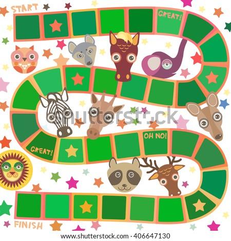 Funny cartoon animals game for Preschool Children, elephant deer horse, giraffe owl raccoon, wolf zebra lion, white green squares on white background. Vector - stock vector
