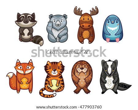 Funny cartoon animals - raccoon, polar bear, moose, penguin, fox, tiger, walrus and badger. Cute childish set. Vector illustration.