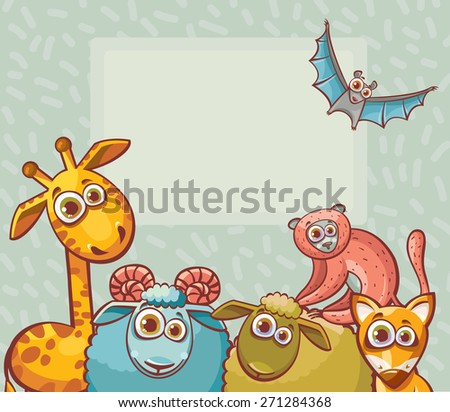 Funny cartoon animals with big eyes - giraffe, bat, ram, sheep, lemur and fox. Childish vector illustration. - stock vector