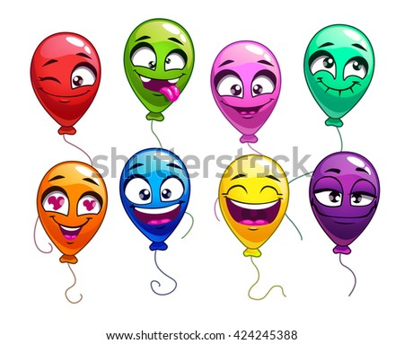 Funny cartoon balloons with comic faces, cute bright balloon characters set, vector colorful balloons icons on white background - stock vector