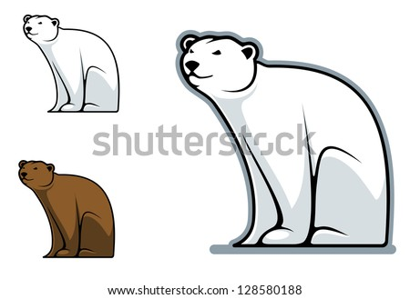 Funny cartoon bear isolated on white for mascot design. Jpeg version also available in gallery - stock vector