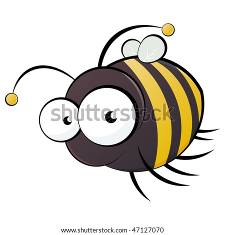 funny cartoon bee - stock vector