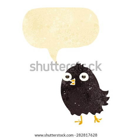 funny cartoon bird with speech bubble - stock vector