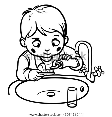 boy brushing teeth coloring pages - photo#22