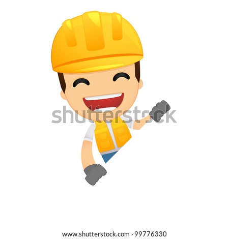 funny cartoon builder various poses use stock vector royalty free