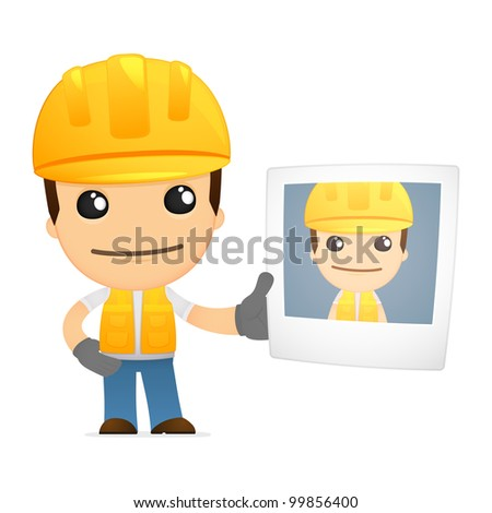 funny cartoon builder in various poses for use in advertising, presentations, brochures, blogs, documents and forms, etc.